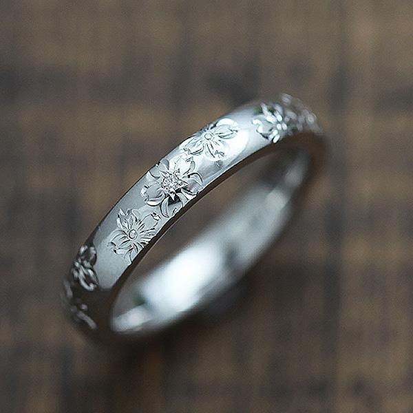 結婚指輪 リング プラチナ PT900(Pt90%) ダイヤモンド 0.03ct 手彫り彫刻 桜 マリッジリング レディースリング サンキュークーポン