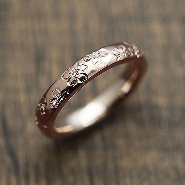 結婚指輪 K18PG ダイヤモンド 0.03ct ピンクゴールド 手彫り彫刻 桜 マリッジリング レディースリング サンキュークーポン