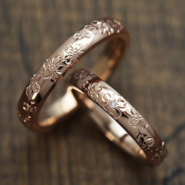 結婚指輪 ペアリング K18PG ダイヤモンド 0.03ct ピンクゴールド 手彫り彫刻 桜 マリッジリング サンキュークーポン