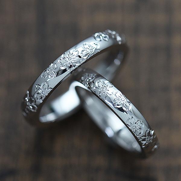 結婚指輪 ペアリング K18WG ダイヤモンド 0.03ct ホワイトゴールド 手彫り彫刻 桜 マリッジリング サンキュークーポン