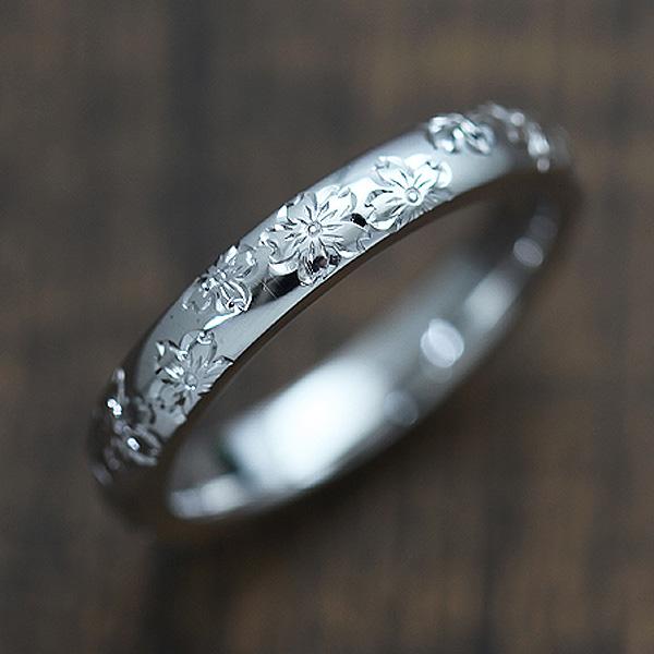 結婚指輪 プラチナ PT900(Pt90%) 手彫り彫刻 桜 マリッジリング メンズリング サンキュークーポン