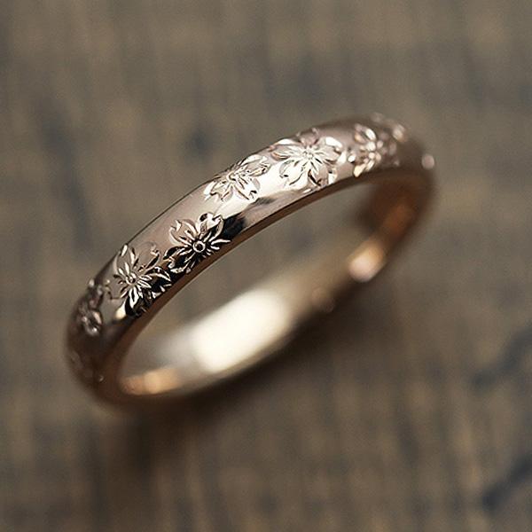結婚指輪 K18PG 手彫り彫刻 桜 マリッジリング ピンクゴールド メンズリング