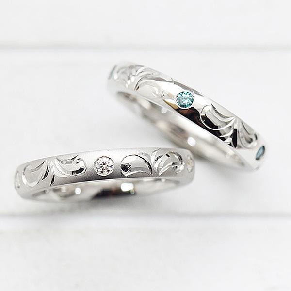 結婚指輪 リング プラチナ PT100(Pt10%) ダイヤモンド 0.08ct 手彫り彫刻 ハワイアンジュエリー マリッジリング レディースリング サンキュークーポン