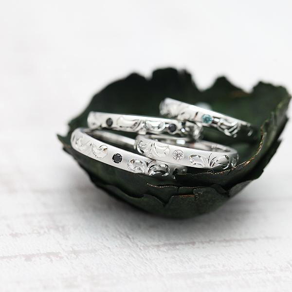 結婚指輪 ペアリング K18WG ダイヤモンド 0.08ct ホワイトゴールド 手彫り彫刻 ハワイアンジュエリー マリッジリング サンキュークーポン