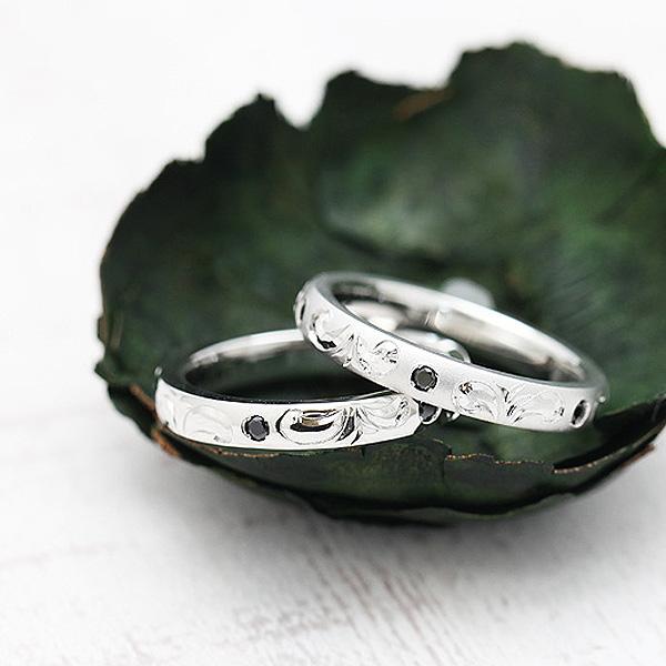 結婚指輪 プラチナ PT900(Pt90%) 手彫り彫刻 ブラックダイヤモンド 0.08ct ハワイアンジュエリーリング マリッジリング メンズリング