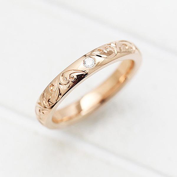 結婚指輪 K18PG ダイヤモンド 0.03ct ピンクゴールド 手彫り彫刻 ハワイアンジュエリー マリッジリング レディースリング サンキュークーポン