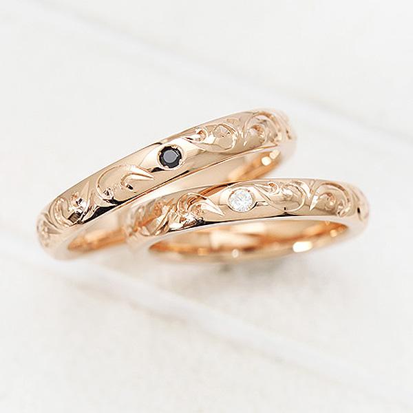 結婚指輪 ペアリング K18PG ダイヤモンド 0.03ct ピンクゴールド 手彫り彫刻 ハワイアンジュエリー マリッジリング サンキュークーポン