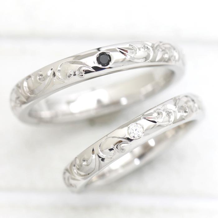 結婚指輪 ペアリング K18WG ダイヤモンド 0.03ct ホワイトゴールド 手彫り彫刻 ハワイアンジュエリー マリッジリング サンキュークーポン