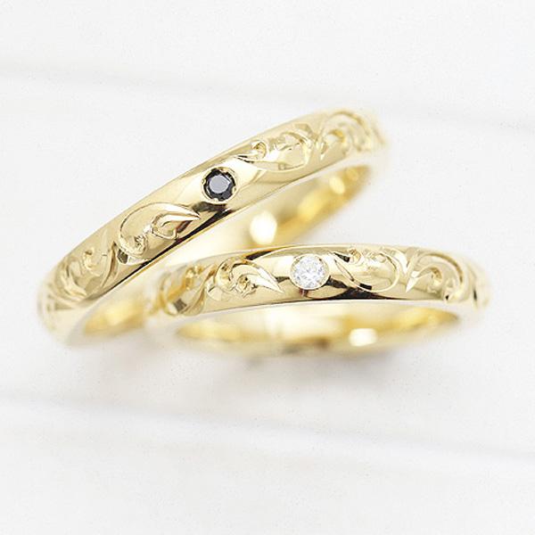 結婚指輪 ペアリング K10YG ダイヤモンド 0.03ct イエローゴールド 手彫り彫刻 ハワイアンジュエリー マリッジリング サンキュークーポン