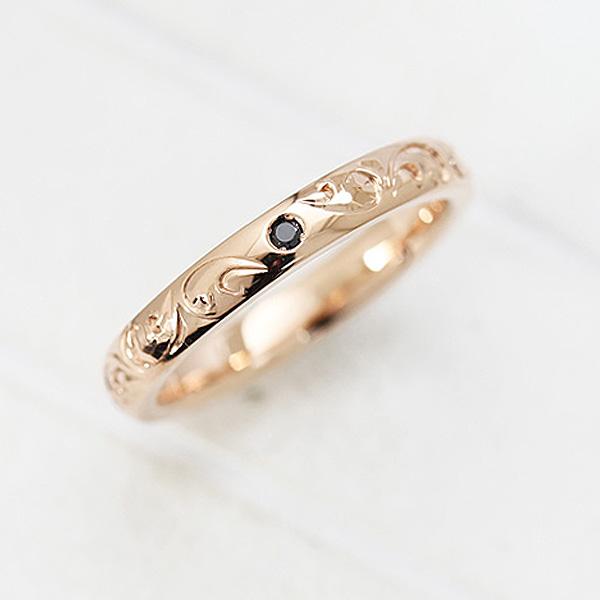 結婚指輪 K18PG 手彫り彫刻 ブラックダイヤモンド 0.03ct ハワイアンジュエリー マリッジリング ピンクゴールド メンズリング サンキュークーポン