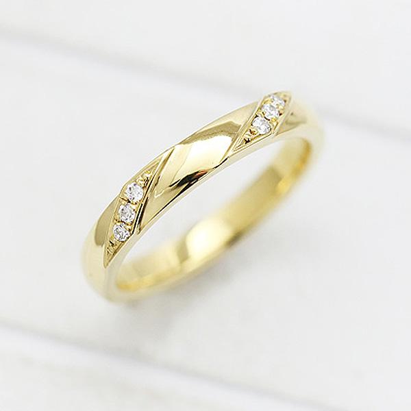 結婚指輪 K18YG ダイヤモンド 0.04ct イエローゴールド マリッジリング レディースリング ギフト プレゼント 彼女 サンキュークーポン