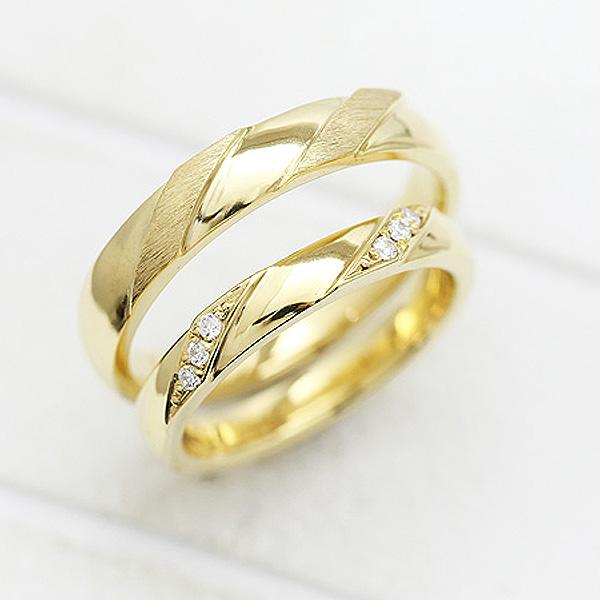 結婚指輪 ペアリング K18YG ダイヤモンド 0.04ct イエローゴールド マリッジリング サンキュークーポン