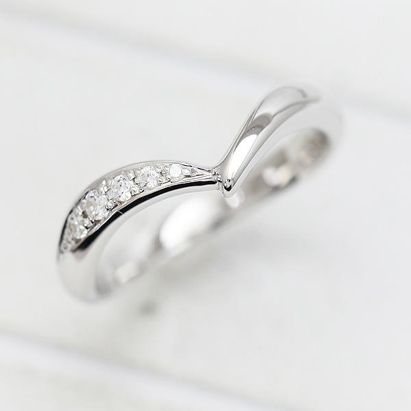 結婚指輪 リング プラチナ PT100(Pt10%) ダイヤモンド 0.07ct マリッジリング V字 レディースリング ギフト プレゼント 彼女