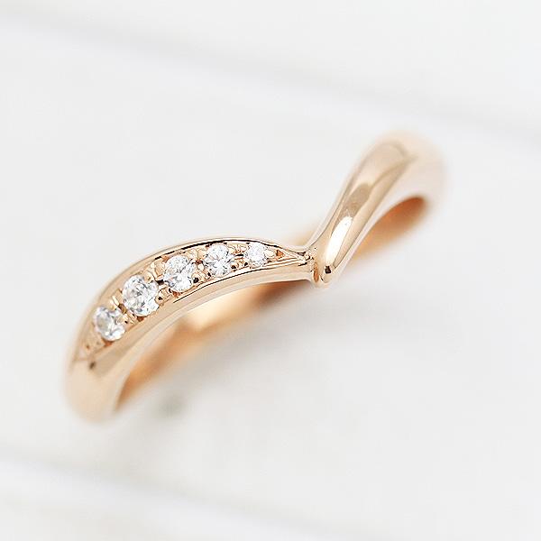 結婚指輪 K10PG ダイヤモンド 0.07ct ピンクゴールド マリッジリング V字 レディースリング ギフト プレゼント 彼女 サンキュークーポン
