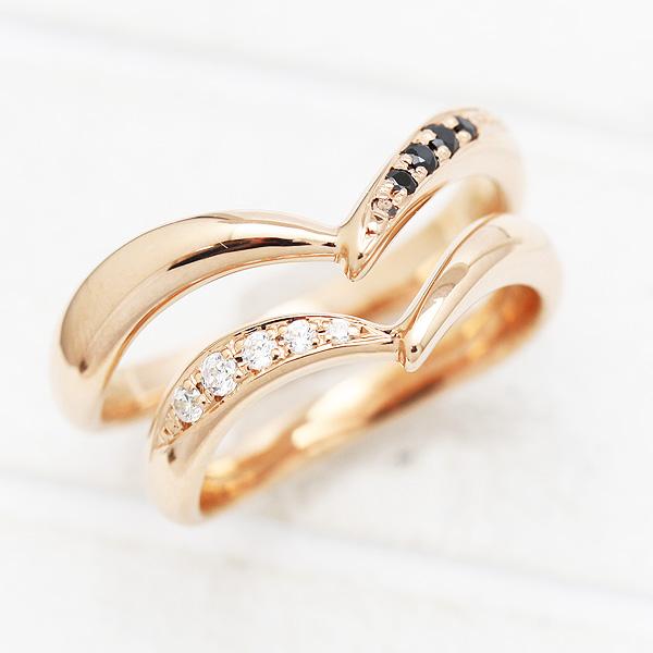 結婚指輪 ペアリングK10PG ダイヤモンド 0.07ct ピンクゴールド マリッジリング V字 ギフト プレゼント 彼女 サンキュークーポン