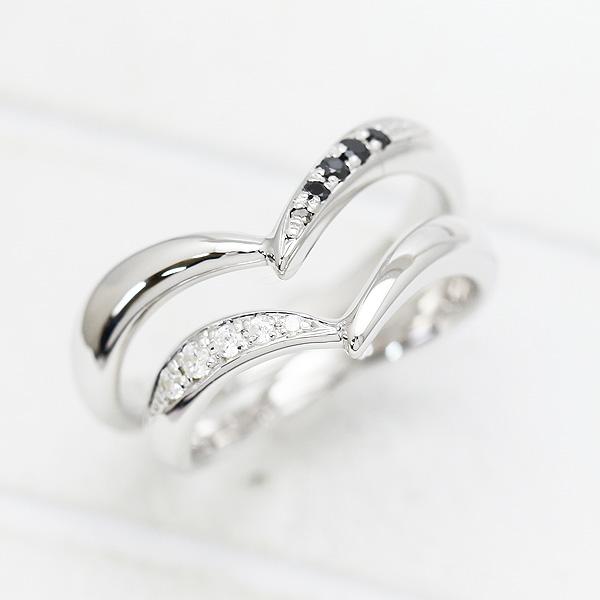 結婚指輪 ペアリングK18WG ダイヤモンド 0.07ct ホワイトゴールド マリッジリング V字 サンキュークーポン