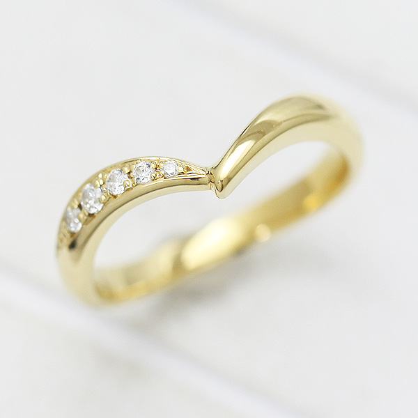 結婚指輪 K10YG ダイヤモンド 0.07ct イエローゴールド マリッジリング V字 レディースリング ギフト プレゼント 彼女 サンキュークーポン