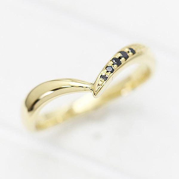 結婚指輪 メンズリング K18YG ブラックダイヤモンド 0.07ct イエローゴールド マリッジリング V字リング サンキュークーポン