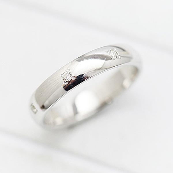 結婚指輪 K18WG ダイヤモンド 0.07ct ホワイトゴールド 幅広め レディースリング マリッジリング サンキュークーポン
