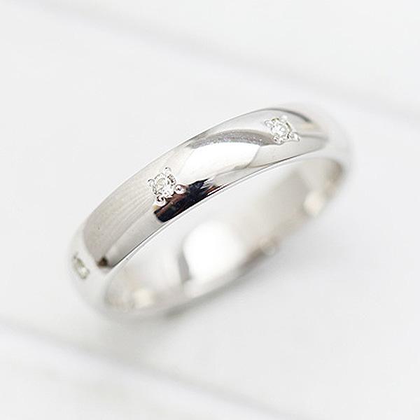 結婚指輪 K18WG ダイヤモンド 0.07ct ホワイトゴールド 幅広め メンズリング マリッジリング