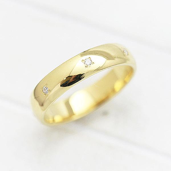 結婚指輪 K10YG ダイヤモンド 0.07ct イエローゴールド 幅広め メンズリング マリッジリング サンキュークーポン