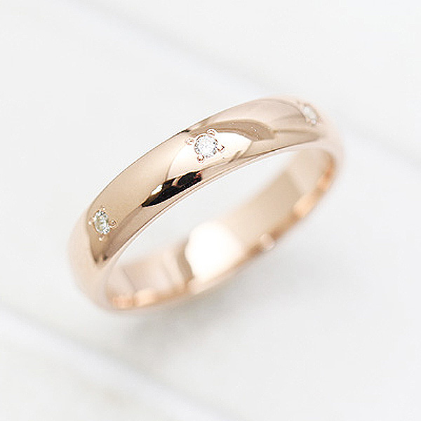 結婚指輪 K18PG ダイヤモンド 0.07ct ピンクゴールド 幅広め レディースリング マリッジリング サンキュークーポン