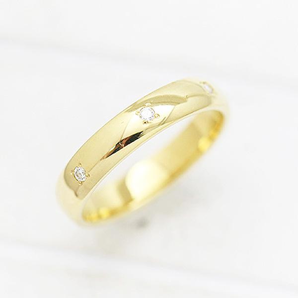 結婚指輪 K18YG ダイヤモンド 0.07ct イエローゴールド 幅広め レディースリング マリッジリング サンキュークーポン