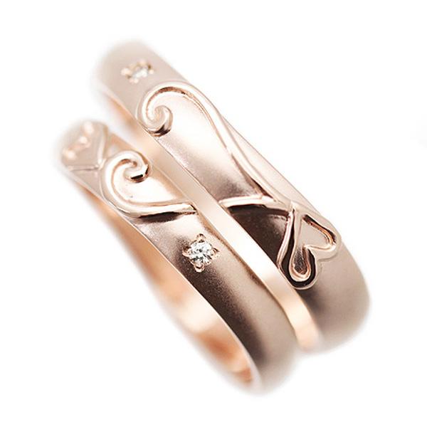 結婚指輪 ペアリング ハート ピンクゴールド K10PG ダイヤ 0.01ct マリッジリング カップル おそろい ペアルック サンキュークーポン