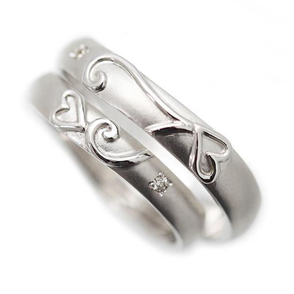結婚指輪 ペアリング ハート プラチナ PT900(Pt90%) ダイヤ 0.01ct マリッジリング カップル おそろい ペアルック サンキュークーポン