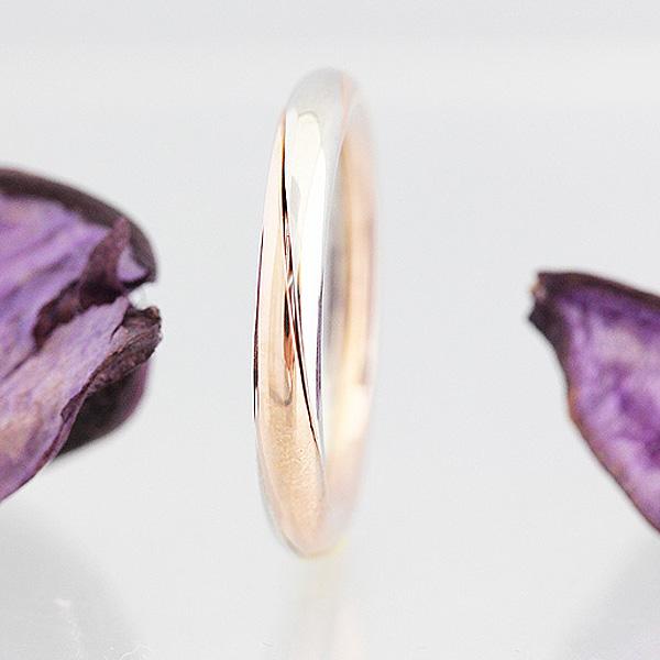 結婚指輪 プラチナ PT900(Pt90%)/K18PG コンビ インフィニティ アンティーク 裏石 ダイヤ 0.01ct メンズリング サンキュークーポン