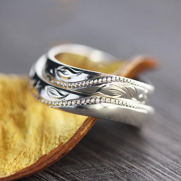 結婚指輪 ペアリング プラチナ PT100(Pt10%) アンティーク ミル打ち 彫刻 バラ 蔦 サンキュークーポン