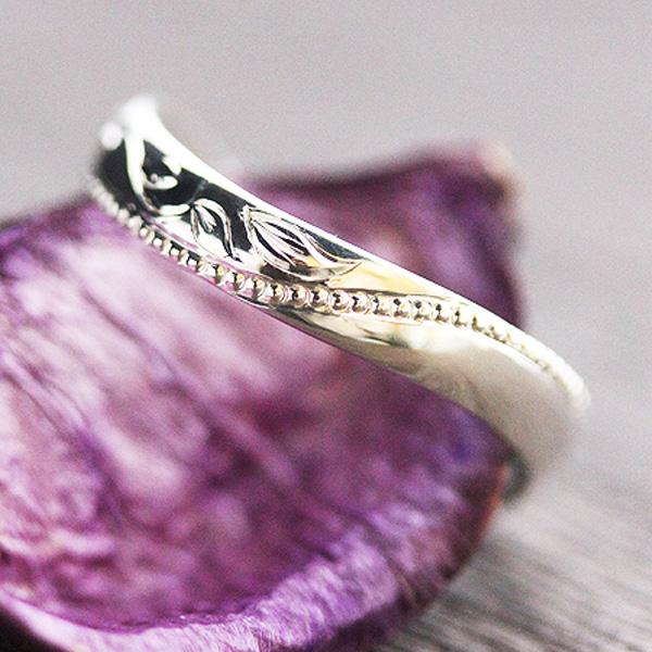 結婚指輪 K10ホワイトゴールド アンティーク ミル打ち 彫刻 バラ 蔦 メンズリング サンキュークーポン
