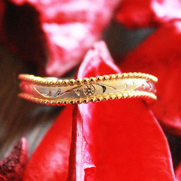 結婚指輪 プラチナ PT100(Pt10%)/K18YG コンビ ダイヤ 0.01ct アンティーク ミル つや消し 和彫り マリッジリング サンキュークーポン