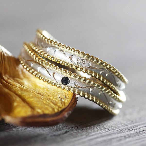 結婚指輪 ペアリング プラチナ PT100(Pt10%)/K18YG コンビ ダイヤ 0.01ct アンティーク ミル つや消し 和彫り サンキュークーポン