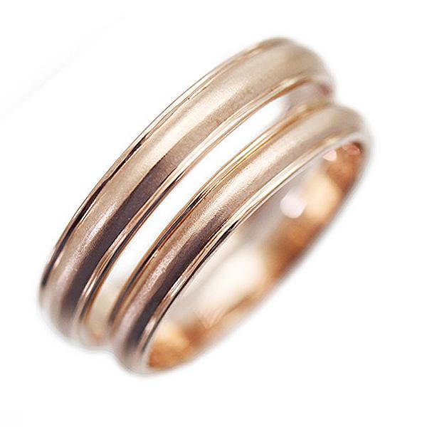 結婚指輪 ペアリング K10ピンクゴールド 鏡面 クールライン つや消し ピンクゴールド マリッジリング サンキュークーポン