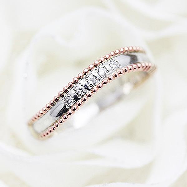 結婚指輪 ペアリング プラチナ PT100(Pt10%)/K18PG コンビ 選べるダイヤ 0.05ct アンティーク ミル マリッジリング サンキュークーポン