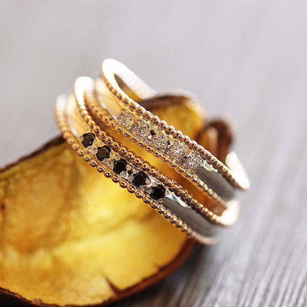 結婚指輪 ペアリング プラチナ PT100(Pt10%)/K18YG コンビ 選べるダイヤ 0.05ct アンティーク ミル マリッジリング サンキュークーポン