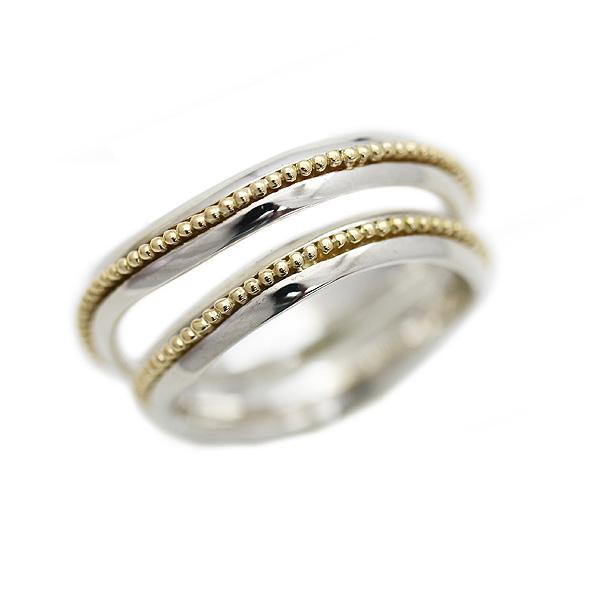 結婚指輪 ペアリング プラチナ PT100(Pt10%)/K18PG コンビ アンティーク センターミルラインユニーク 個性的 サンキュークーポン