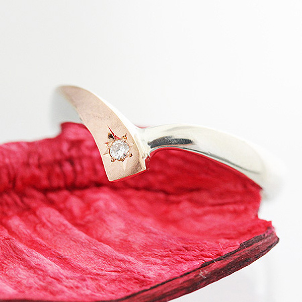 結婚指輪 リング プラチナ PT900(Pt90%)/K18PG コンビ クロスライン V字 星留め ダイヤモンド レディースリング サンキュークーポン