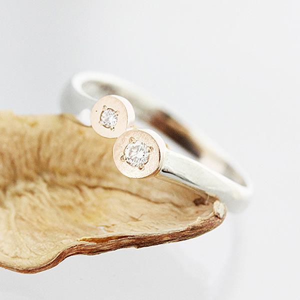 結婚指輪 リング プラチナ PT900(Pt90%)/K18PG コンビ 天然ホワイトダイヤ 0.04ct ダブルラウンド レディースリング マリッジリング サンキュークーポン