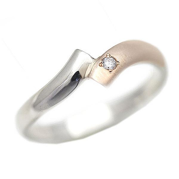結婚指輪 リング プラチナ PT900(Pt90%)/K18PG コンビ クロス スクエア レディースリング サンキュークーポン