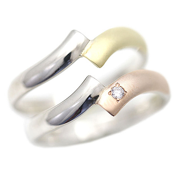 結婚指輪 ペアリング プラチナ PT100(Pt10%) K18YG/K18PG コンビ クロス スクエア サンキュークーポン