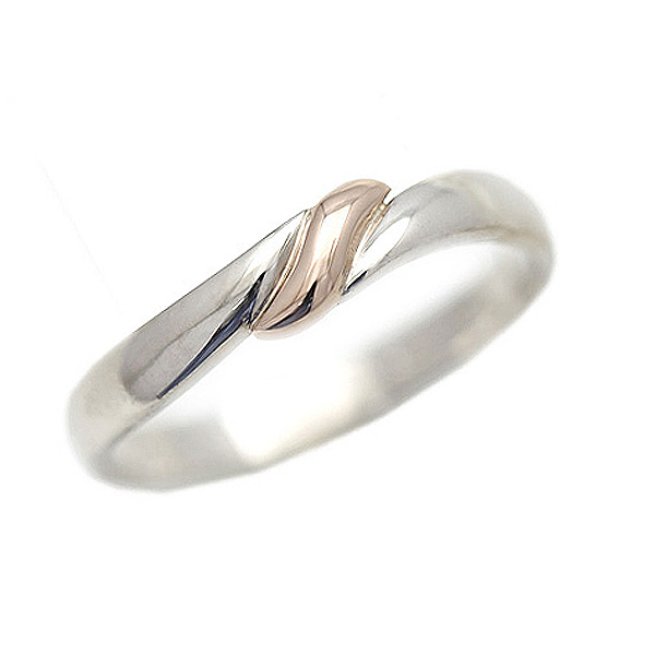 結婚指輪 リング プラチナ PT100(Pt10%)/K18PG コンビ リボン 結び目 レディースリング マリッジリング