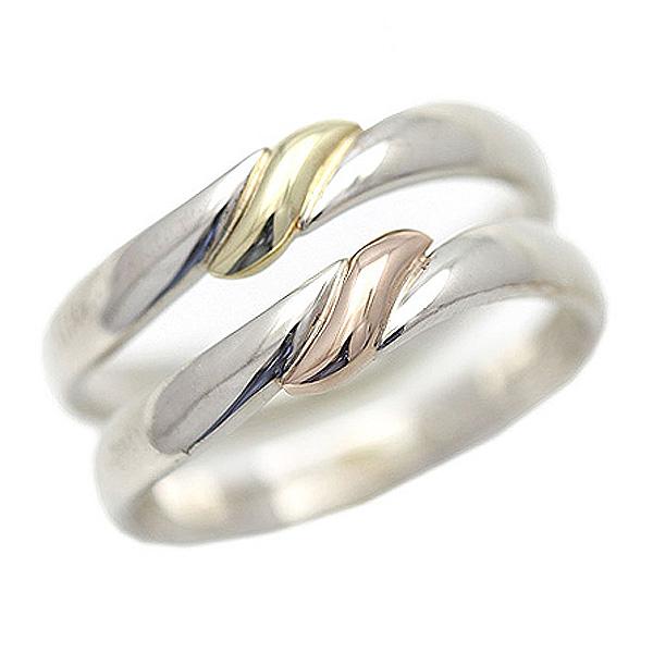 結婚指輪 ペアリング プラチナ PT100(Pt10%) K18YG/K18PG コンビ リボン 結び目 マリッジリング サンキュークーポン