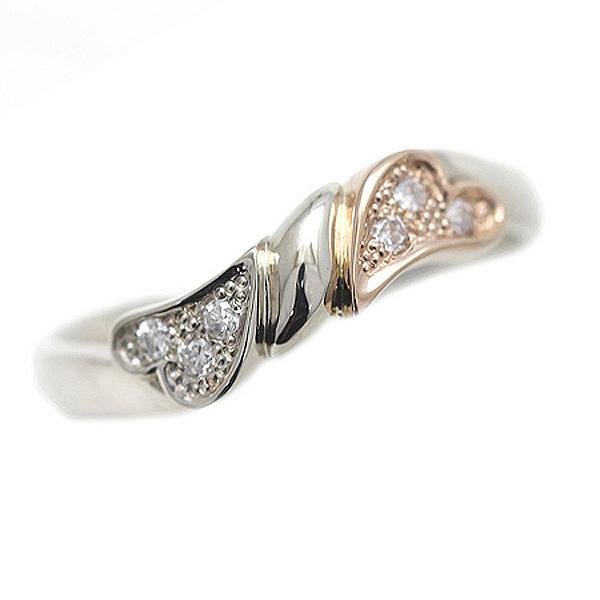 結婚指輪 プラチナ PT900(Pt90%)/K18PG コンビ ハート リボン ダイヤモンド 0.06ct レディース マリッジリング ホワイトデー ギフト プレゼント 彼女