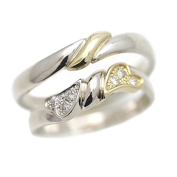 結婚指輪 プラチナ PT100(Pt10%)/K18YG コンビ ハート リボン ダイヤモンド 0.06ct ペアリング マリッジリング