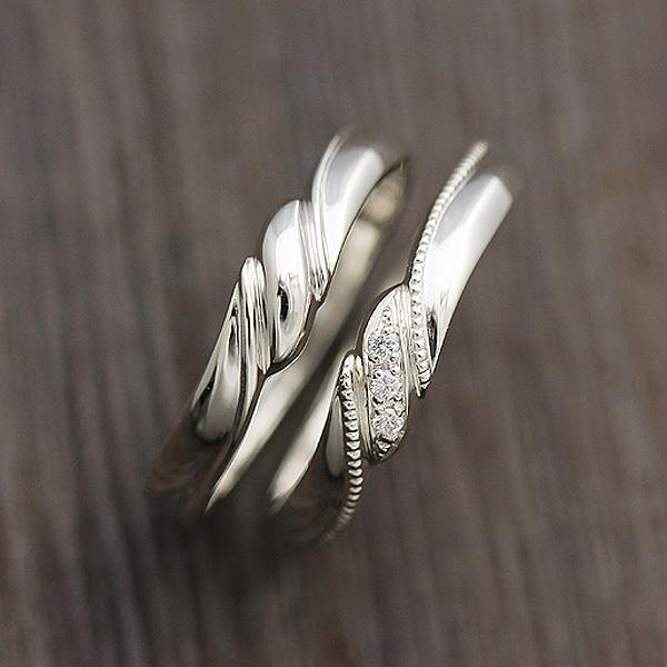 結婚指輪 ペアリング プラチナ PT900(Pt90%) ミル リボン ダイヤモンド 0.03ct プラチナ マリッジリング サンキュークーポン