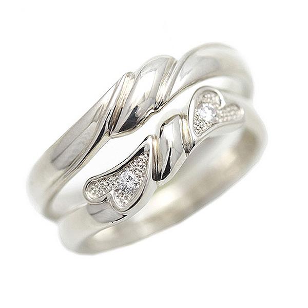 結婚指輪 プラチナ PT900(Pt90%) リボン 結び目 ダイヤモンド 0.04ct ペアリング