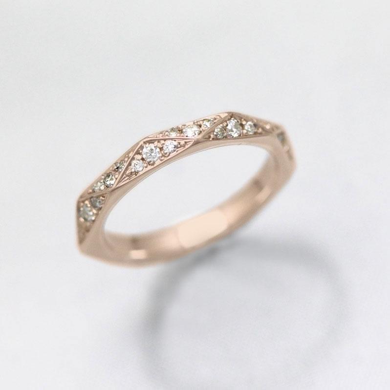結婚指輪 K10PG ダイヤモンド 0.27ct ピンクゴールド マリッジリング ミラーカット レディースリング ホワイトデー ギフト プレゼント 彼女
