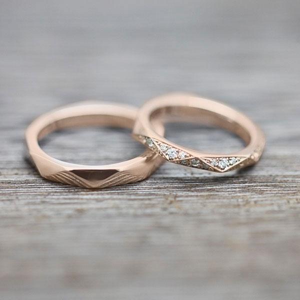 結婚指輪 ペアリングK18PG ダイヤモンド 0.27ct ピンクゴールド マリッジリング ミラーカット レディースリング ホワイトデー ギフト プレゼント
